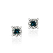 Sterling Silver 1/8 ct Blue Diamond Round Stud Earrings