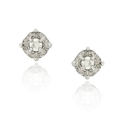 Sterling Silver 1/8 ct Diamond Round Stud Earrings
