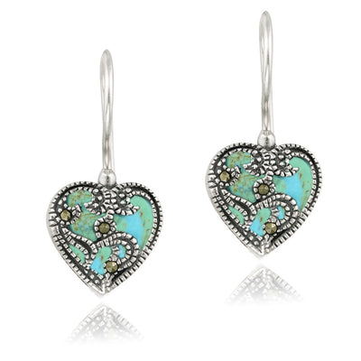 Sterling Silver Created Turquoise & Marcasite Heart Drop Earrings