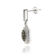 Sterling Silver 2/5 ct tdw Champagne Diamond Dangle Earrings