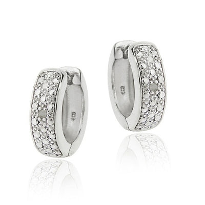 Sterling Silver Diamond Accent Huggies Hoop Earrings