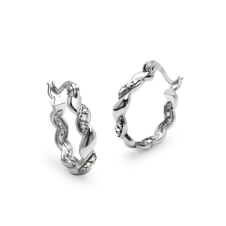 Sterling Silver San Marco Diamond Accent 20mm Hoop Earrings, JK-I3