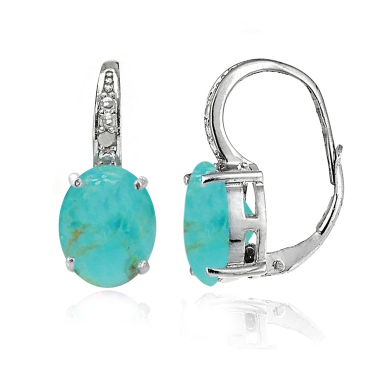 Sterling Silver Created Turquoise Opal & Diamond Accent Oval Leverback Earrings