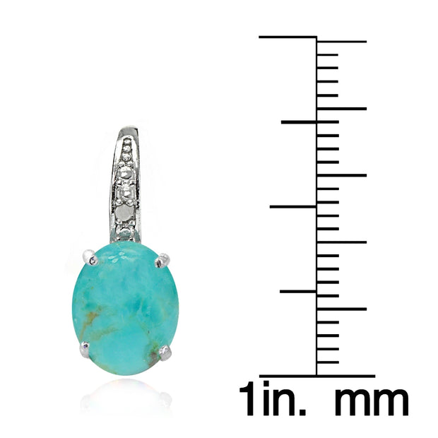 Sterling Silver Simulated Turquoise Opal & Diamond Accent Oval Leverback Earrings