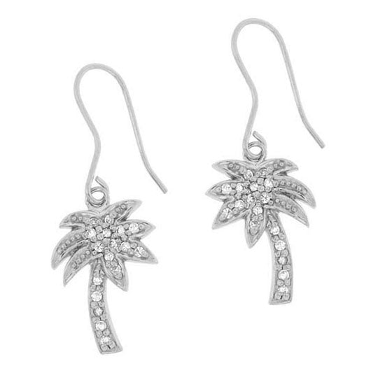 Sterling Silver Designer-Inspired CZ Palm Tree Earrings