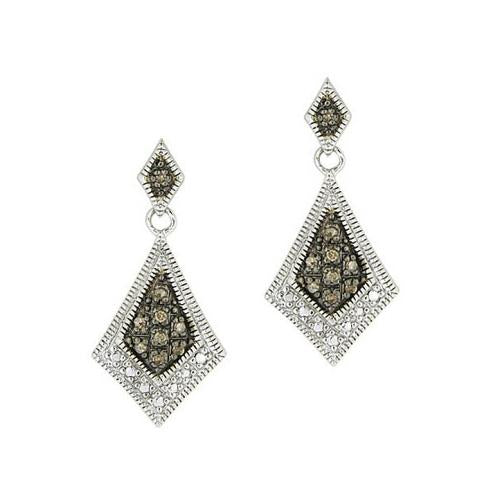 Sterling Silver 1/5 ct. tdw Champagne Diamond Geometric Earrings