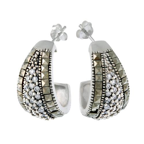 Sterling Silver Marcasite & CZ Half Hoop Earrings