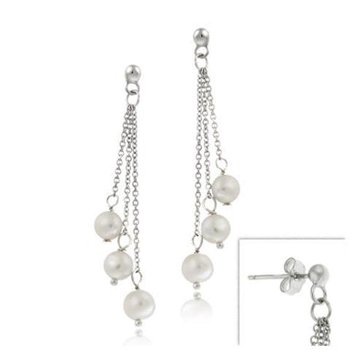 Sterling Silver White Freshwater Pearl Dangle Earrings