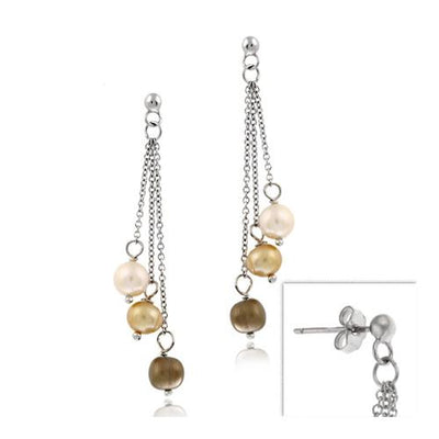 Sterling Silver Freshwater Multi Color Pearl Dangling Earrings