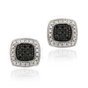 Sterling Silver 1/5 ct Black Diamond Square Earrings