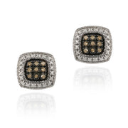 Sterling Silver 1/5 ct. tdw Champagne Diamond Square Earrings