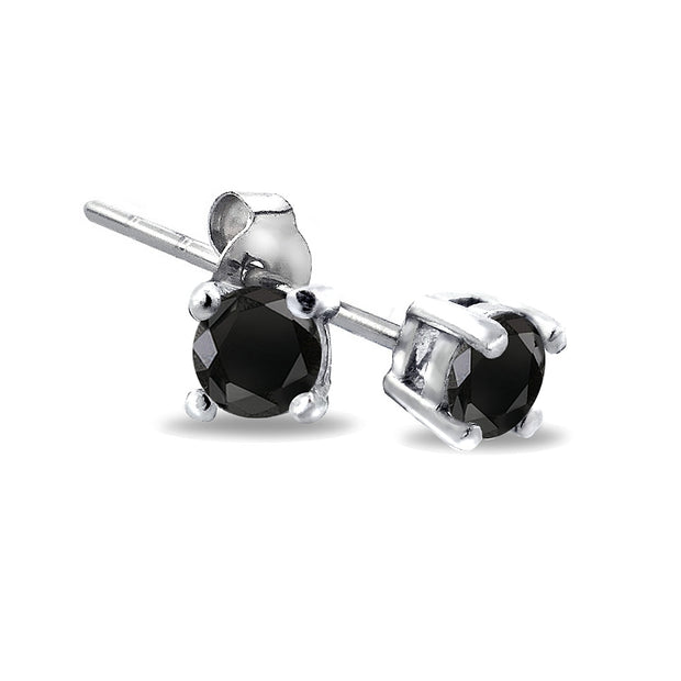 Sterling Silver 1/4 CT Black Diamond Stud Earrings