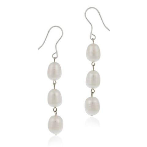 Sterling Silver Freshwater Cultured White Pearl Drop Earrings
