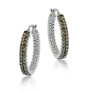 Sterling Silver 3/4 ct. tdw Champagne Diamond Two Row Hoop Earrings