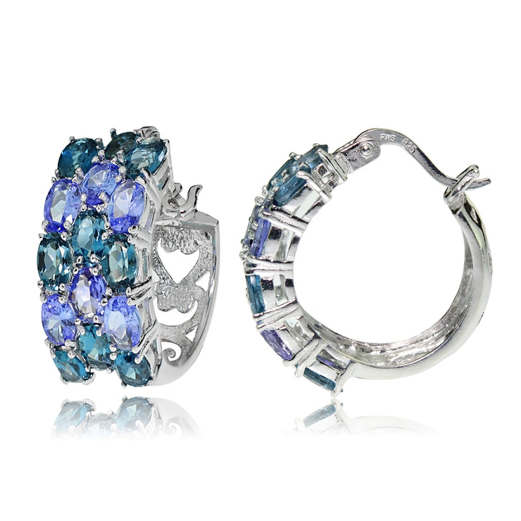 Sterling Silver London Blue Topaz and Tanzanite 3-Row Hoop Earrings