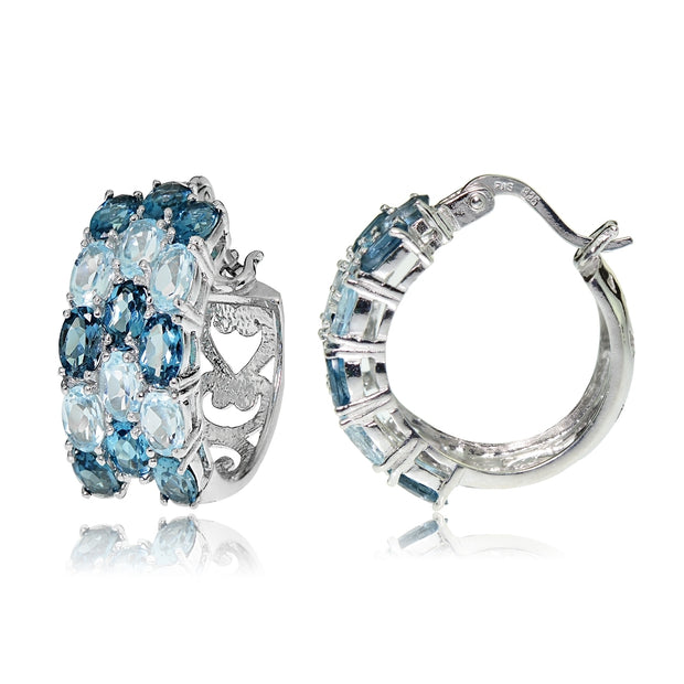 Sterling Silver London Blue Topaz and Blue Topaz 3-Row Hoop Earrings