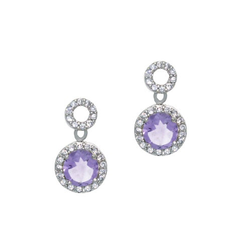 Sterling Silver 2.4 ct. Amethyst and CZ Circle Dangle Earrings