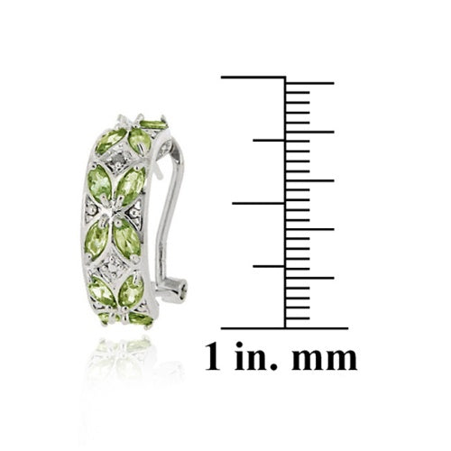Sterling Silver 4.2ct. Peridot & Diamond Half Hoop Earrings