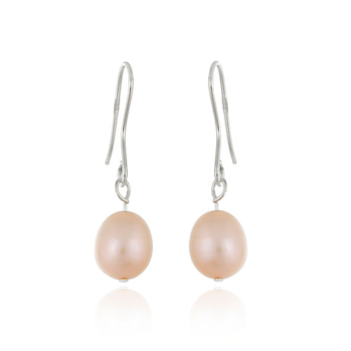 Sterling Silver Baroque Freshwater Cultured Peach Pearl Earrings
