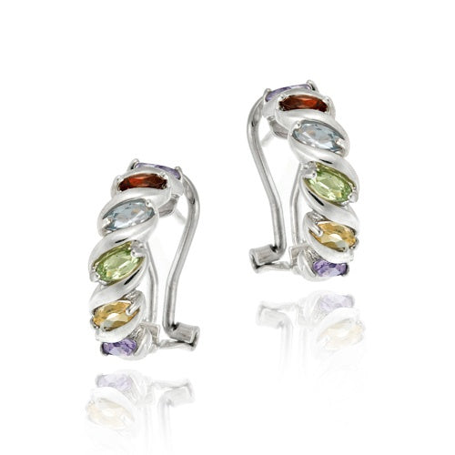 "Sterling Silver Multi Color Gemstone ""S"" Design Hoop Earrings"