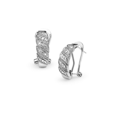 Sterling Silver Diamond Accent S Wave Half Hoop Earrings, JK-I3