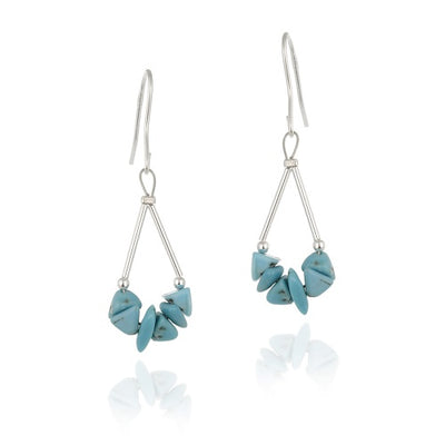 Sterling Silver Turquoise Chip Triangle Earrings