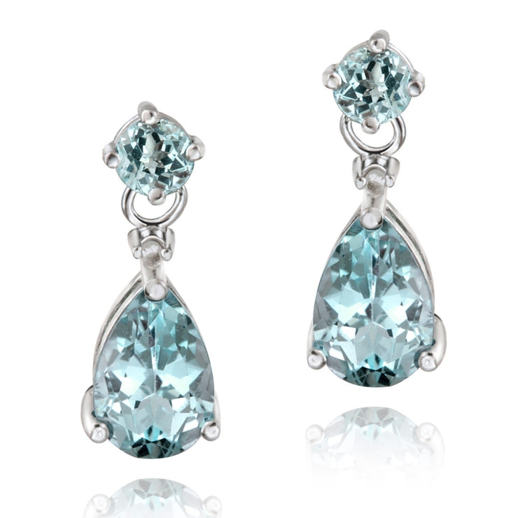 Sterling Silver 3.6 ct. TGW Blue Topaz & Diamond Accent Teardrop Earrings