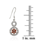 Sterling Silver Garnet Flower & Diamond Accent Double Circle Earrings