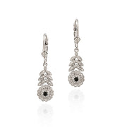 Sterling Silver Sapphire & Diamond Flower w/ Leaves Leverback Earrings
