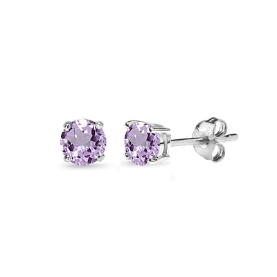Sterling Silver Amethyst 4mm Round-Cut Solitaire Stud Earrings