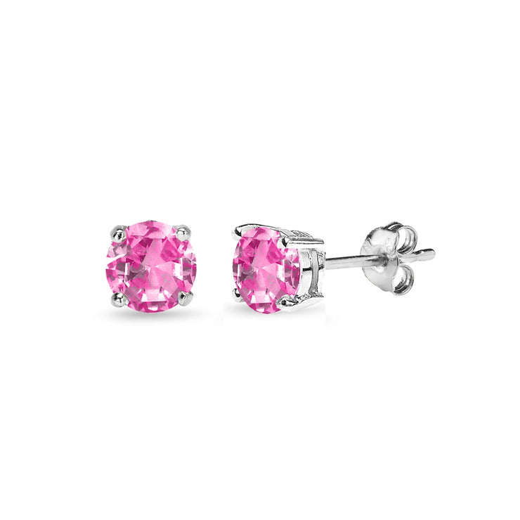 Sterling Silver Created Pink Sapphire 4mm Round Solitaire Dainty Stud Earrings