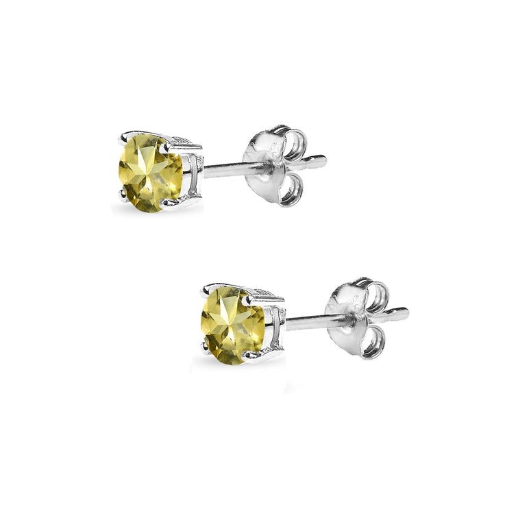 Sterling Silver Citrine 4mm Round-Cut Solitaire Stud Earrings