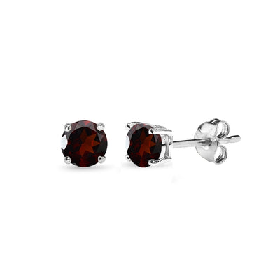 Sterling Silver Garnet 4mm Round-Cut Solitaire Stud Earrings