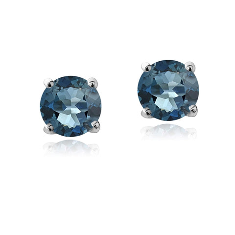 Sterling Silver 5/8ct London Blue Topaz Stud Earrings, 4 mm