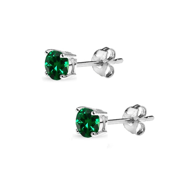Sterling Silver Created Emerald 4mm Round-Cut Solitaire Stud Earrings