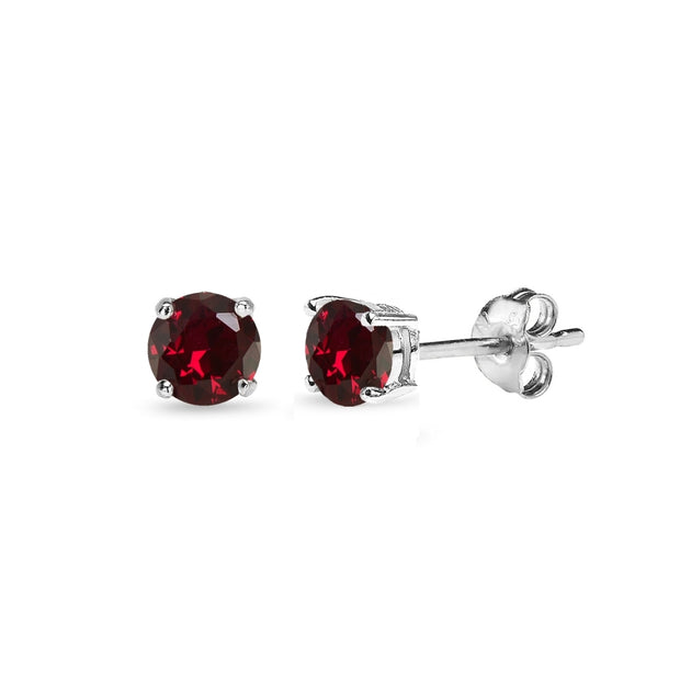 Sterling Silver Created Ruby 4mm Round-Cut Solitaire Stud Earrings