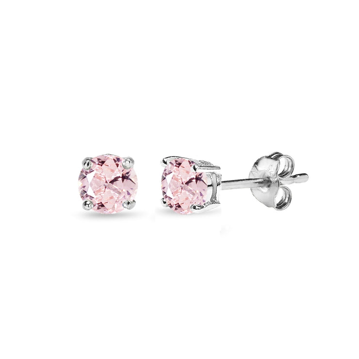Sterling Silver Created Morganite 4mm Round Solitaire Dainty Stud Earrings