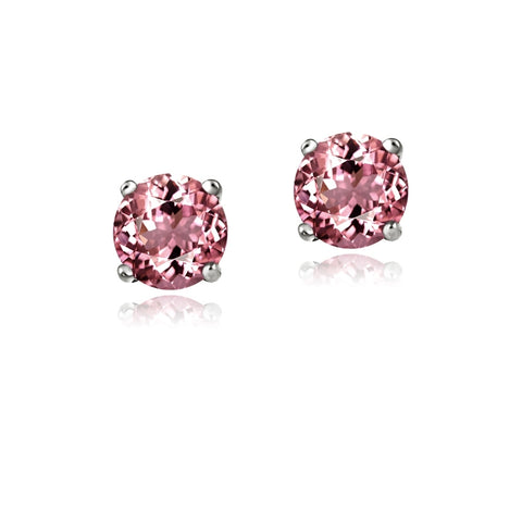 Sterling Silver .5ct Pink Tourmaline Round 4mm Stud Earrings