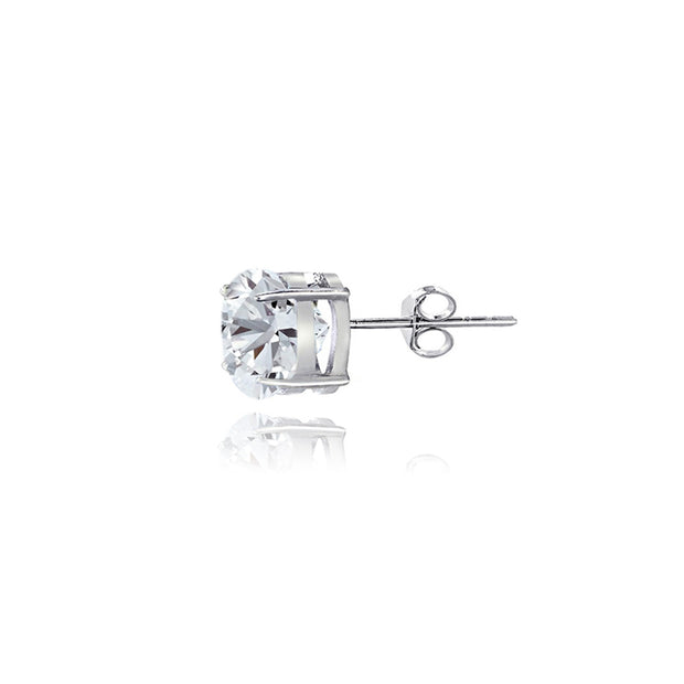 Sterling Silver White Sapphire 4mm Round Stud Earrings