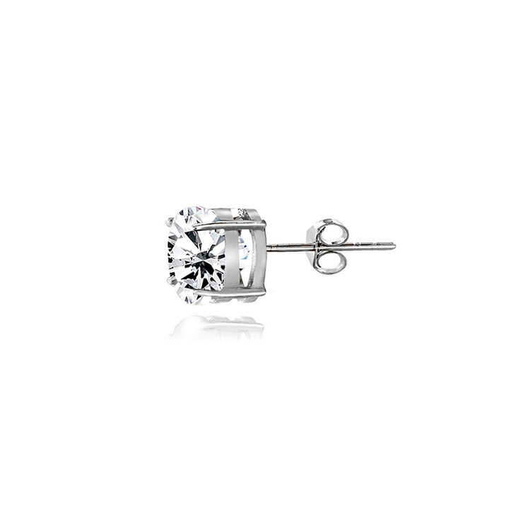 Sterling Silver White Topaz 4mm Round-Cut Solitaire Stud Earrings