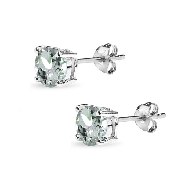Sterling Silver Aquamarine 6mm Round-Cut Solitaire Stud Earrings