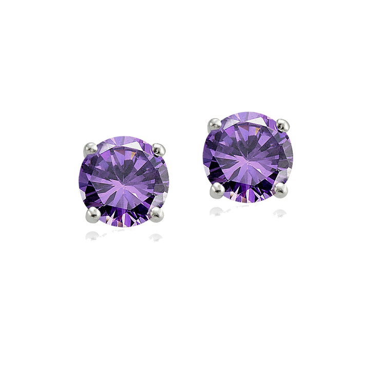 Sterling Silver Amethyst 6mm Round-Cut Solitaire Stud Earrings
