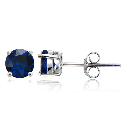 Sterling Silver Created Blue Sapphire 6mm Round-Cut Solitaire Stud Earrings
