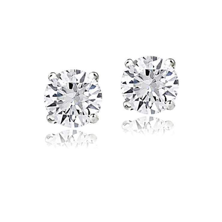 Sterling Silver Created White Sapphire 6mm Round-Cut Solitaire Stud Earrings