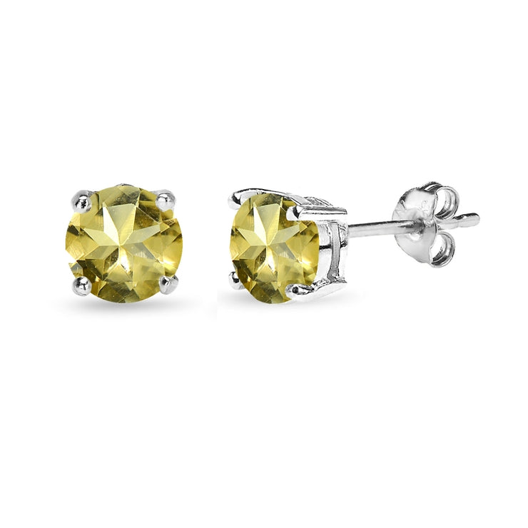 Sterling Silver Citrine 6mm Round-Cut Solitaire Stud Earrings