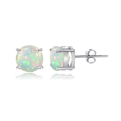 Sterling Silver 1.10ct Ethiopian Opal 6mm Stud Earrings