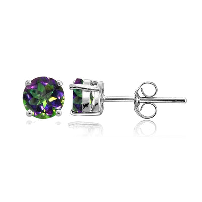 Sterling Silver Green Mystic Topaz Round Stud Earrings, 6mm