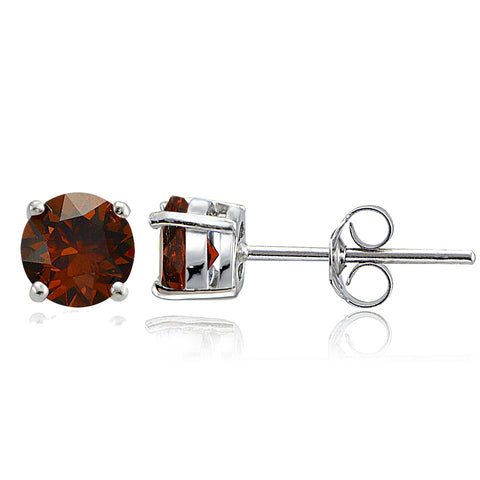 Sterling Silver Garnet 6mm Round-Cut Solitaire Stud Earrings