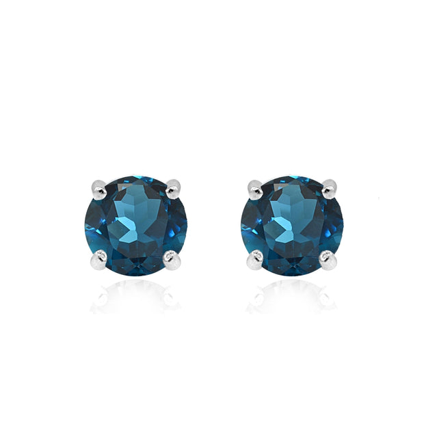 Sterling Silver London Blue Topaz 6mm Round Stud Earrings