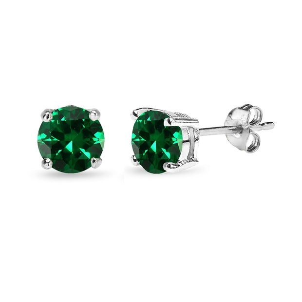 Sterling Silver Created Emerald 6mm Round-Cut Solitaire Stud Earrings